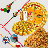 Scintillating Presentation of Rakhi Thali with One Rakhi Lumba Set for Bhai Bhabhi, Two Kids Rakhi, Boondi Ladoo N Mixture