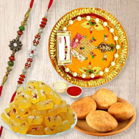 Remarkable Combo of Rakhi Thali with 2 Rakhis, 4 Kachori N Kesaria Angori Petha