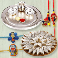 Scintillating Rakhi Hamper of Puja Thali with Kaju Katli, Family Rakhi Set for Bhai Bhabhi N 2 Kids Rakhi