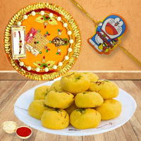 Charming Present of One Kids Rakhi N Kesaria Peda in Rakhi Thali