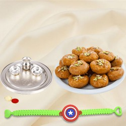 Magnificent Gift of One Kids with Rakhi Thali N Pack of Balushahi