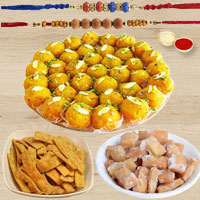 Yummy Pack of Namak Para, Sakar Para, Boondi Laddoo with 2 Fancy Rakhi