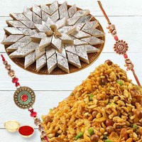 Spectacular Selection of Mixture N Kaju Katli with Two Adult Rakhi