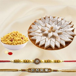 Spectacular Selection of Masala Peanuts N Kaju Katli with Two Adult Rakhi