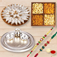 Marvelous Mega Gift Pack of Silver Plated Thali, Mixed Dry Fruits and Sweet Kaju Katli with 2 Free Rakhi, Roli Tika and Chawal for this Raksha Bandhan