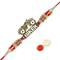 Impressive Kundan Rakhi in Biker Design for your Dear Brother