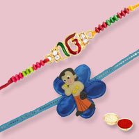 Set of Om Rakhi with Chota Bheem Rakhi
