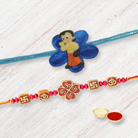 Marvelous Set of Om and Swastik Rakhi with Chota Bheem Rakhi