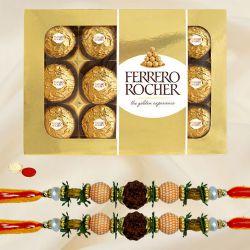 Auspicious Rudraksha Rakhi with Ferrero Rocher