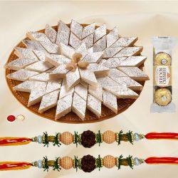 Rudraksha Rakhi with Ferrero Rocher N Kaju Katli