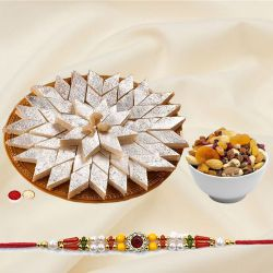 Kaju Katli with Dry Fruits N Ethnic Rakhi