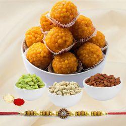 Boondi Ladoo with Dry Fruits N Ethnic Rakhi