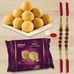 Boondi Ladoo with  Soan Papdi N Rudraksha Rakhi