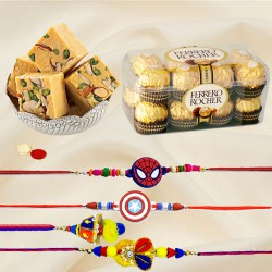 Ferrero Rocher with Bikaji Soan Papdi n Family Rakhi Set