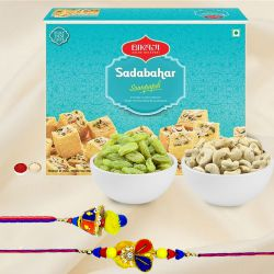 Bikaji Soan Papdi with Assorted Dry Fruits and Bhaiya Bhabhi Rakhi