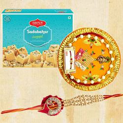 Bikaji Soan Papdi with Designer Thali with Rakhi