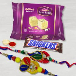 Imported Snickers with Soan Papdi n Rakhi Set