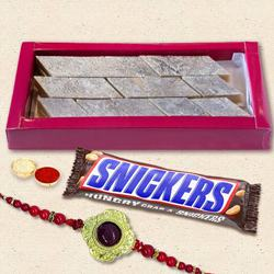 Imported Snickers with Kaju Katli n Rakhi