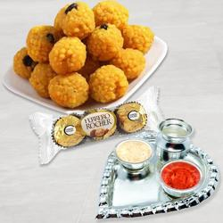 Ferrero Rocher with Silver Plated Pooja Thali with Boondi Ladoo