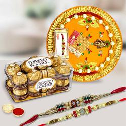 Ferrero Rocher with Silver Plated Pooja Thali with Twin Rakhi