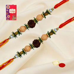 Elegant Set of 2 Om Rakhi with Free Roli, Chawal n Card
