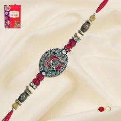 Ethnic Rakhi with Roli, Chawal Tika n Rakhi Card