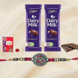 Ethnic Rakhi with 2 Chocolates, Roli Chawal Tika n Card