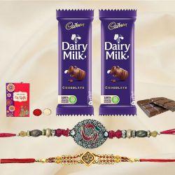Ethnic Rakhi Set of 2 with 2 Chocolates, Roli Tika n Card
