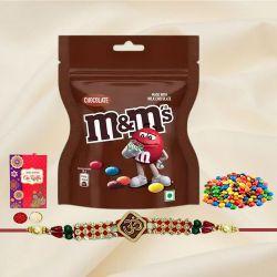 Ethnic Rakhi with M N M Chocolates, Roli Tika N Card