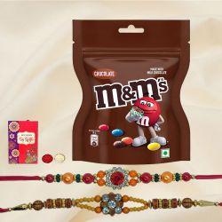Dual Ethnic Rakhi Set with M N M Chocolates n Rakhi Card