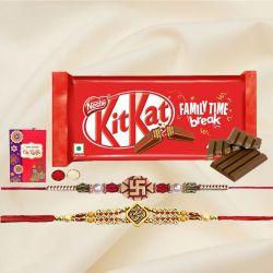 Traditional Set of 2 Rakhis with Kitkat Bar n Rakhi Card