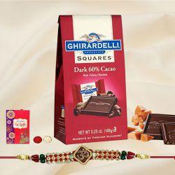 Fancy Rakhi with Ghiradelli Chocolates n Rakhi Card