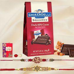 Fancy Rakhi Pair with Ghiradelli Chocolates, Roli Tika n Card