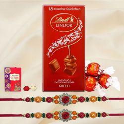 Designer Rakhi Set with Lindt Chocolates n Rakhi Card