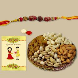 Ethnic Rakhi with Dry Fruits, Roli Chawal N Card