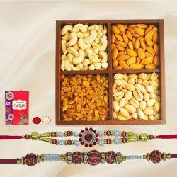 Designer Set of 2 Rakhi with Dry Fruits