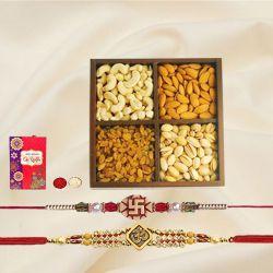 Designer Twin Rakhi Set with Crunchy Dry Fruits