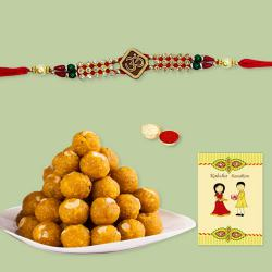 Traditional Rakhi with Boondi Ladoo, Roli Tika n Card