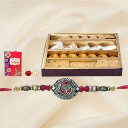 Ethnic Rakhi with Assorted Sweets, Roli Tika n Card