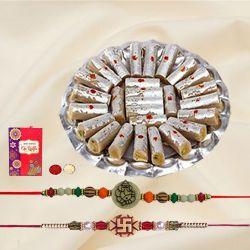 Ethnic Rakhi Set of 2 with Tasty Kaju Pista Roll