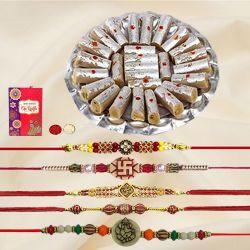 Ethnic Set of 5 Rakhis with Yummy Kaju Pista Roll