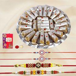 Ethnic Pair of Bhai N Kids Rakhi with Kaju Pista Roll