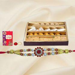Ethnic Rakhi with Assorted Sweets, Roli Chawal n Card