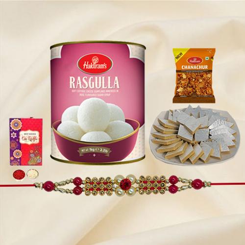Stylish Rakhi with Sweets n Bhujia from Haldirams