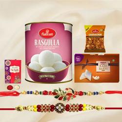 Pious Twin Rakhi Set with Haldiram Assortments