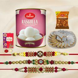 Fancy Set of 3 Rakhis with Haldirams Sweets n Savory