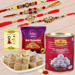 Classy Set of 4 Rakhi with Haldiram Sweets n Chanchur