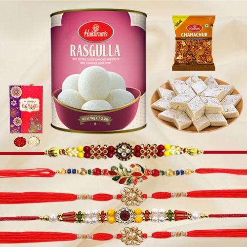 Charming Set of 5 Rakhi with Haldirams Sweets n Savory