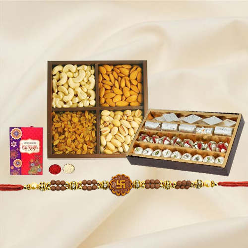 Pious Ganesh Rakhi with Assorted Sweets n Dry Fruits