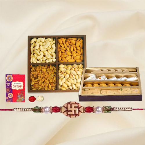 Ethnic Rakhi with Assorted Sweets n Dry Fruits